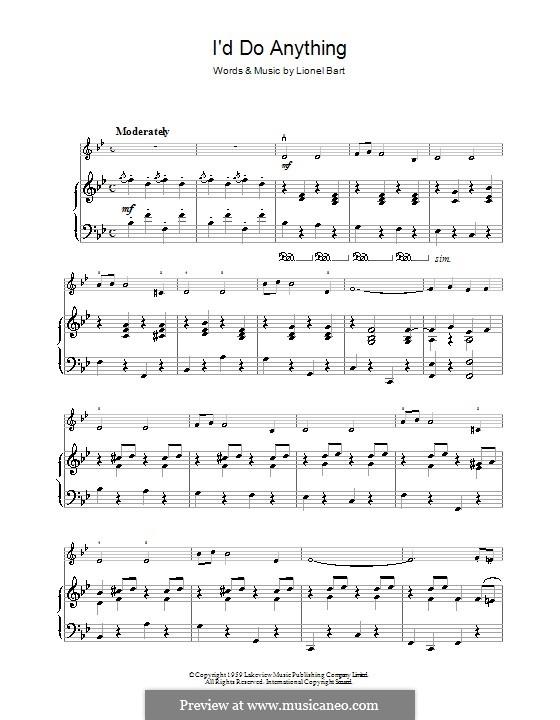 I'd Do Anything (from Oliver!): Für Violine und Klavier by Lionel Bart