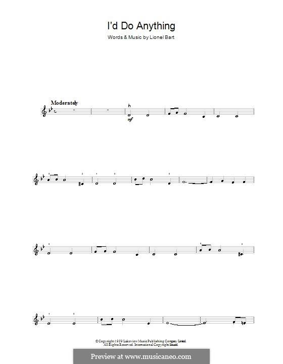 I'd Do Anything (from Oliver!): Für Violine by Lionel Bart