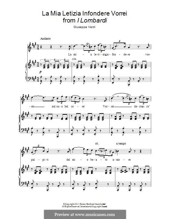 Die Lombarden auf dem ersten Kreuzzug: La mia letizia infondere vorrei, for voice and piano by Giuseppe Verdi