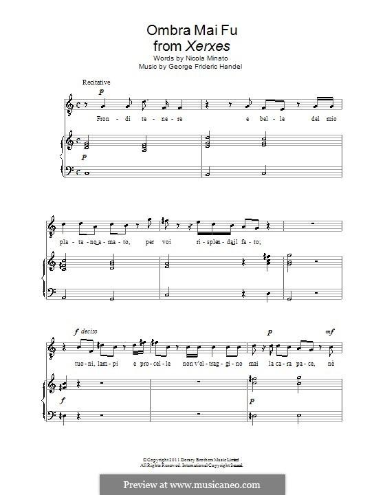 Ombra mai fu: Für Stimme und Klavier by Georg Friedrich Händel