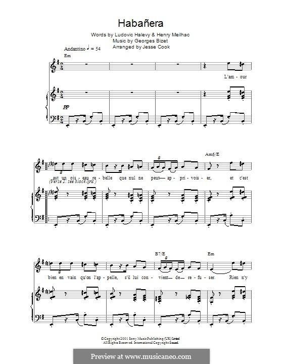 Habanera: Für Stimme und Klavier by Georges Bizet