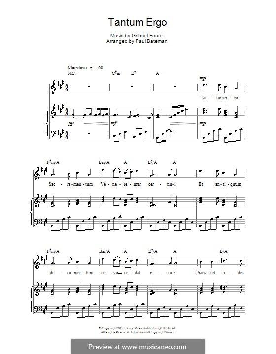 Tantum ergo, Op.55: Für Stimme und Klavier (oder Gitarre) by Gabriel Fauré