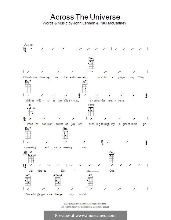 Across the Universe (The Beatles): Für Ukulele mit Schlagmuster by John Lennon, Paul McCartney