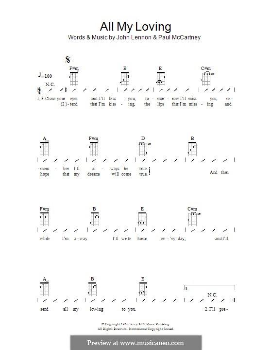 All My Loving (The Beatles): Ukulele mit Schlagmuster by John Lennon, Paul McCartney