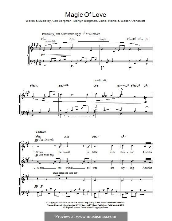 Magic of Love (Russell Watson): Für Stimme und Klavier (oder Gitarre) by Alan Bergman, Lionel Richie, Marilyn Bergman, Walter Afanasieff