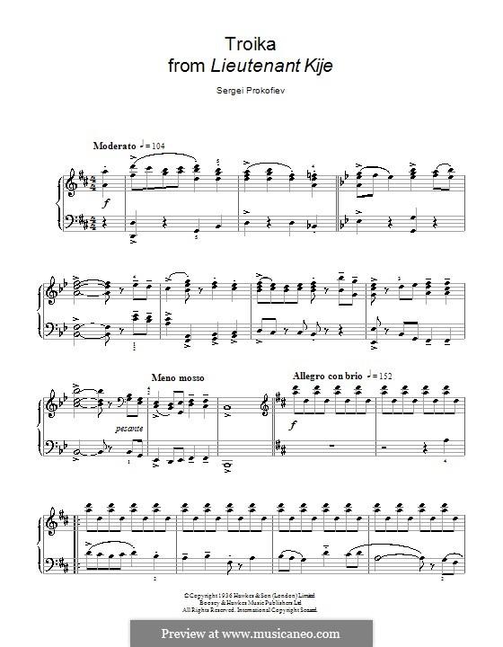 Leutnant Kishe, Op.60: Troika. Bearbeitung für Klavier by Sergei Prokofjew