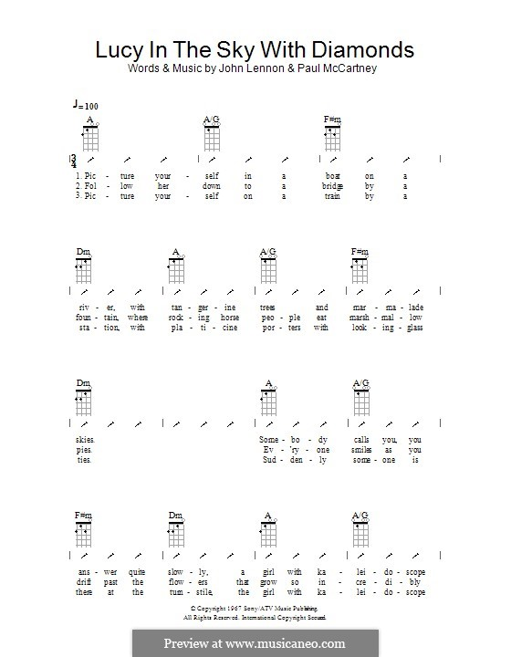 Lucy in the Sky with Diamonds (The Beatles): Ukulele mit Schlagmuster by John Lennon, Paul McCartney