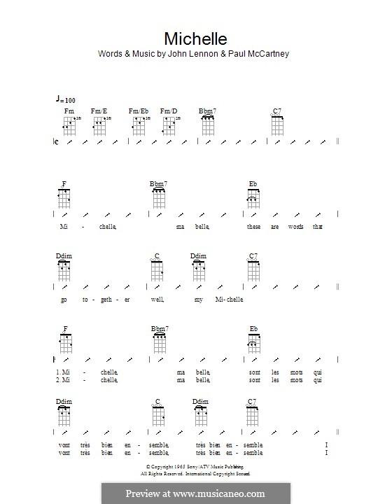 Michelle (The Beatles), for One Instrument: Für Ukulele mit Schlagmuster by John Lennon, Paul McCartney