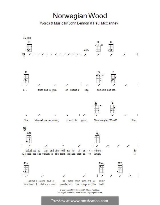 Norwegian Wood (This Bird Has Flown): Ukulele mit Schlagmuster by John Lennon, Paul McCartney