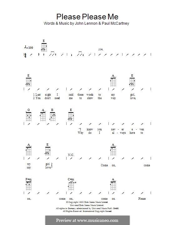 Please Please Me (The Beatles): Ukulele mit Schlagmuster by John Lennon, Paul McCartney