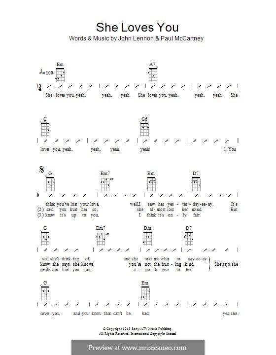 She Loves You (The Beatles): Ukulele mit Schlagmuster by John Lennon, Paul McCartney