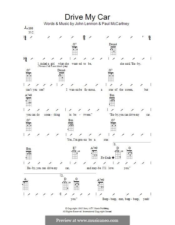 Drive My Car (The Beatles): Ukulele mit Schlagmuster by John Lennon, Paul McCartney