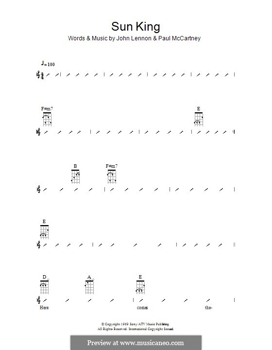 Sun King (The Beatles): Für Ukulele mit Schlagmuster by John Lennon, Paul McCartney