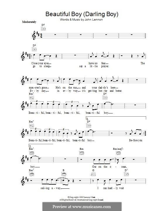 Beautiful Boy (Darling Boy): Melodie, Text und Akkorde by John Lennon