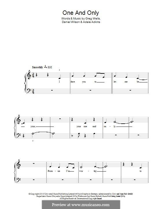 One and Only: Einfache Noten für Klavier by Adele, Daniel Wilson, Greg Wells