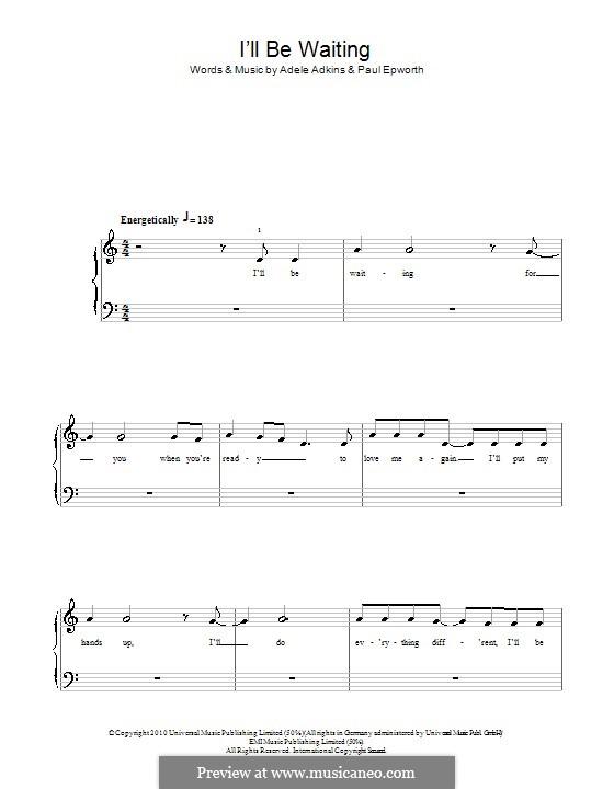 I'll be Waiting: Einfache Noten für Klavier by Adele, Paul Epworth