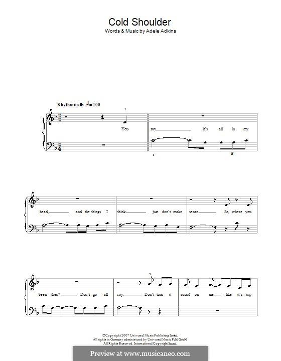 Cold Shoulder: Einfache Noten für Klavier by Adele