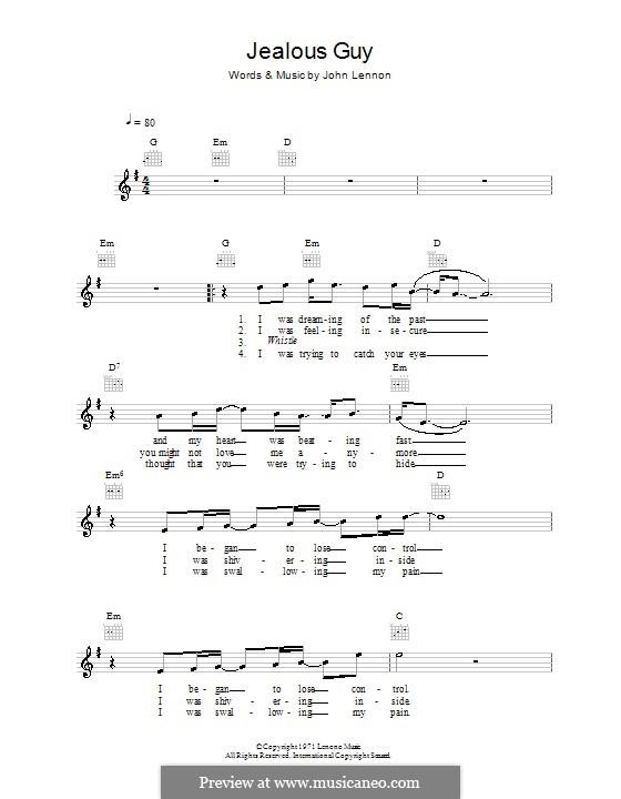 Jealous Guy: Melodie, Text und Akkorde by John Lennon