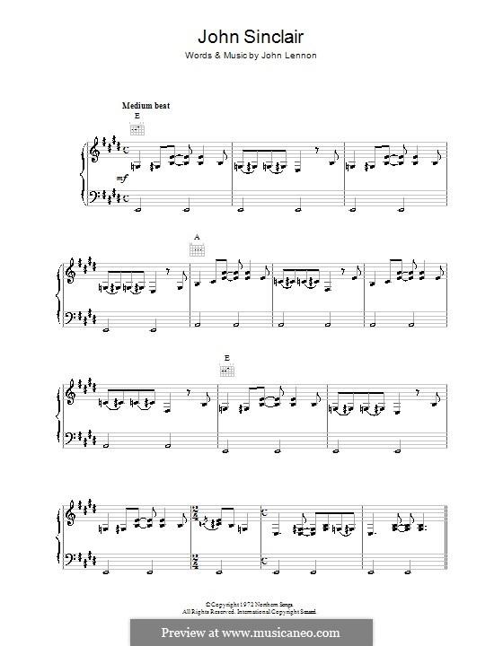 John Sinclair: Für Stimme und Klavier (oder Gitarre) by John Lennon
