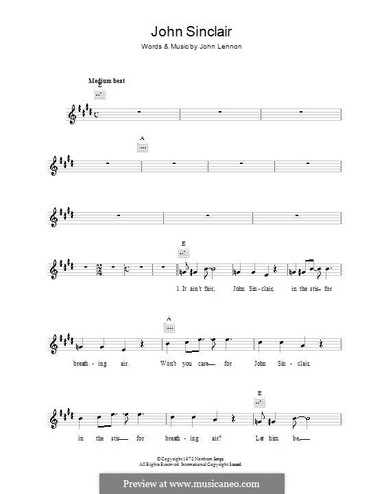 John Sinclair: Melodie, Text und Akkorde by John Lennon