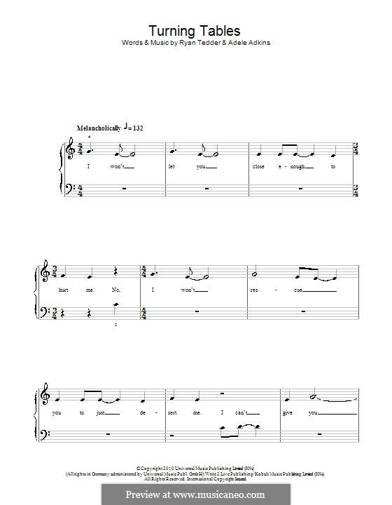 Turning Tables: Für Klavier, leicht by Adele, Ryan B Tedder