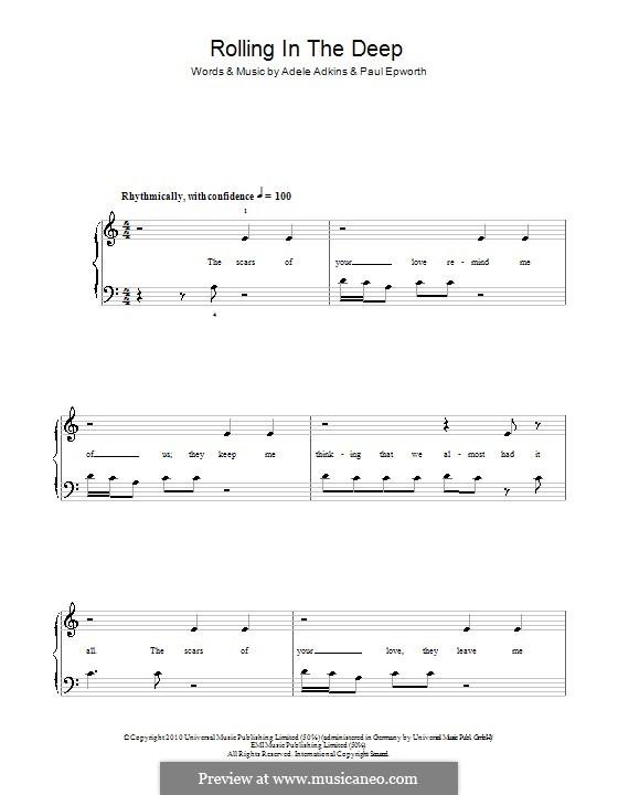 Rolling in the Deep: Einfache Noten für Klavier (a-Moll) by Adele, Paul Epworth