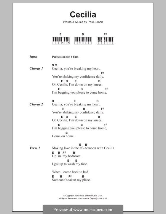 Cecilia (Simon & Garfunkel): Text und Akkorde für Klavier by Paul Simon