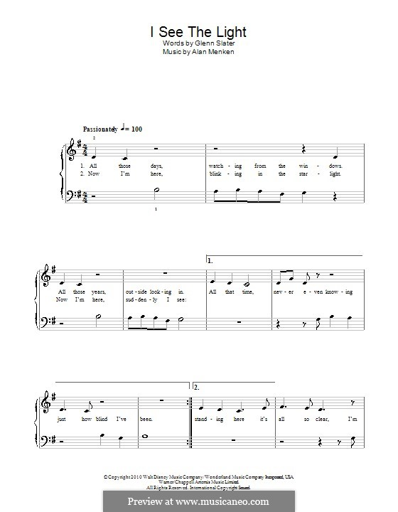 I See the Light: Einfache Noten für Klavier by Alan Menken