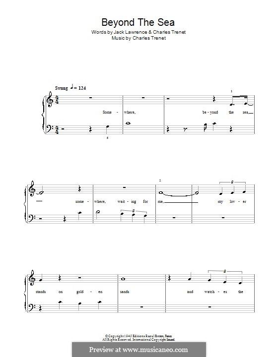Beyond the Sea: Für Klavier, leicht (Robbie Williams) by Albert Lasry, Charles Trenet