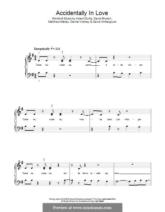 Accidentally in Love (from Shrek 2): Für Klavier, leicht by Adam F. Duritz, Daniel J. Vickrey, David Bryson, David Immergluck, Matthew Malley