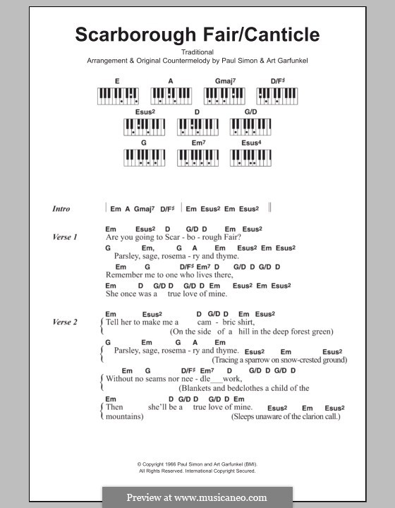 Scarborough Fair / Canticle: Text und Akkorde für Klavier by folklore