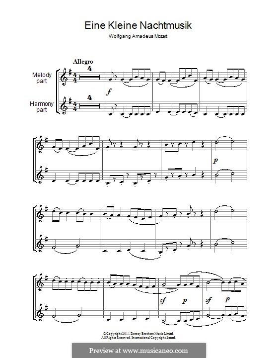 Allegro: Für zwei Klarinetten by Wolfgang Amadeus Mozart