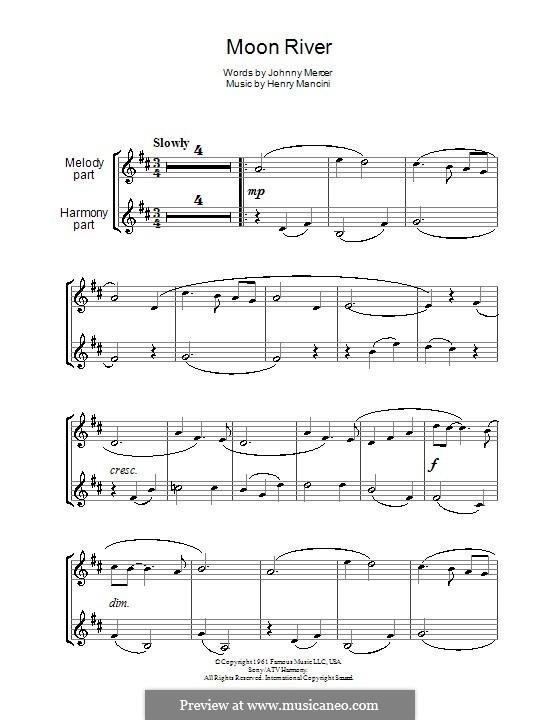 Moon River (from Breakfast at Tiffany's): Für zwei Klarinetten by Henry Mancini