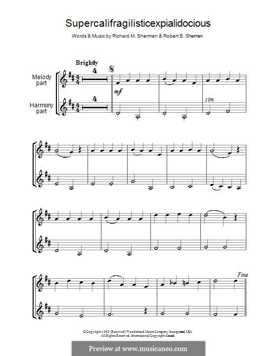 Supercalifragilisticexpialidocious (from Mary Poppins): Für zwei Klarinetten by Richard M. Sherman, Robert B. Sherman