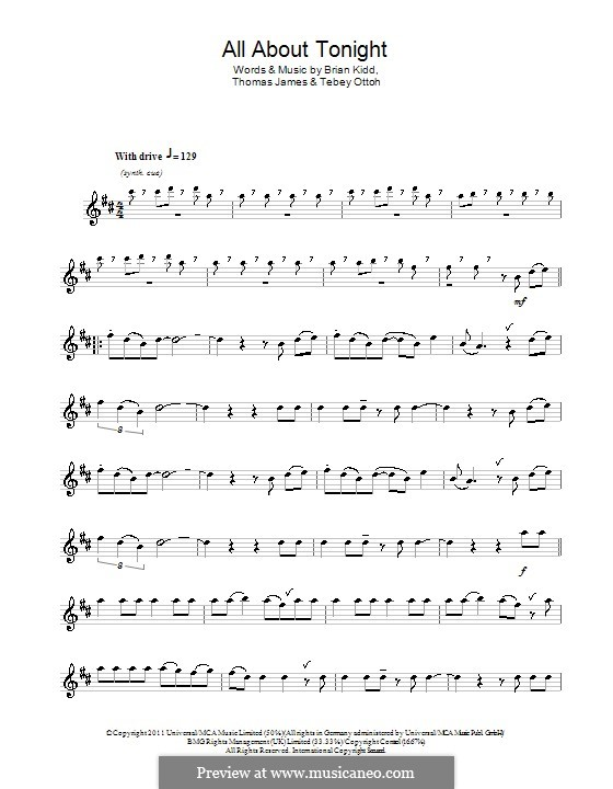 All About Tonight (Pixie Lott): Für Flöte by Brian Kidd, Tebey Ottoh, Thomas James