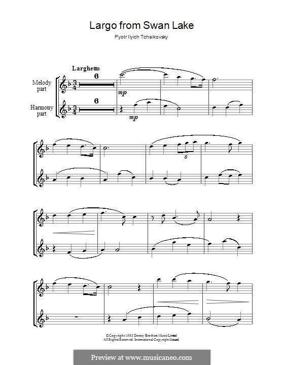 Fragmente: Largo, für zwei Flöten by Pjotr Tschaikowski