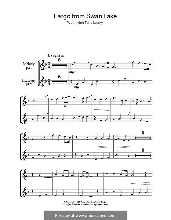 Fragmente: Largo, für zwei Blockflöten by Pjotr Tschaikowski