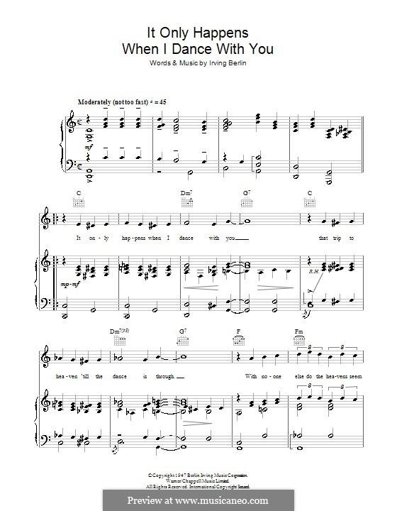 It Only Happens When I Dance with You (Judy Garland): Für Stimme und Klavier (oder Gitarre) by Irving Berlin