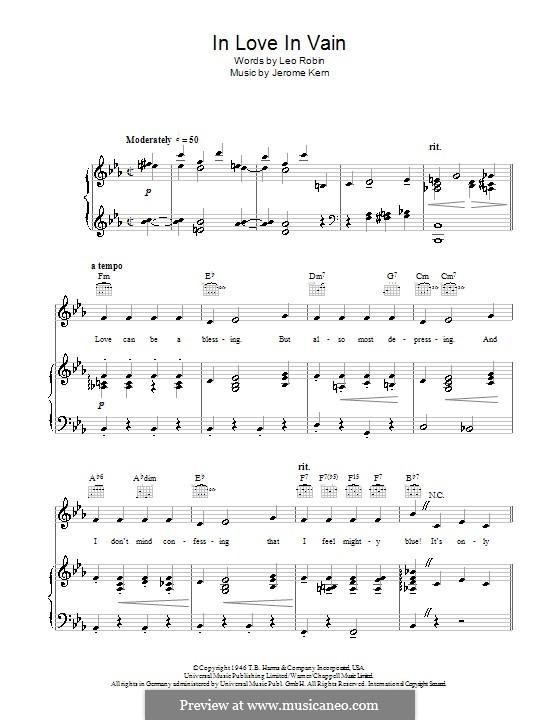 In Love in Vain: Für Stimme mit Klavier oder Gitarre (Bobby Darin) by Jerome Kern