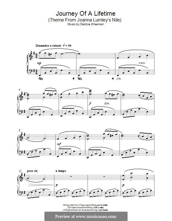Journey of a Lifetime (Theme from Joanna Lumley's Nile): Für Klavier by Debbie Wiseman