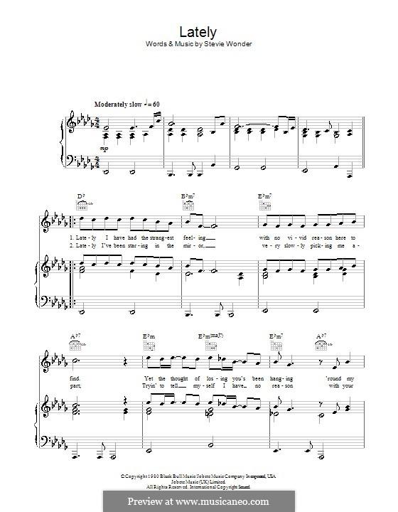 Lately: Für Stimme und Klavier (oder Gitarre) by Stevie Wonder