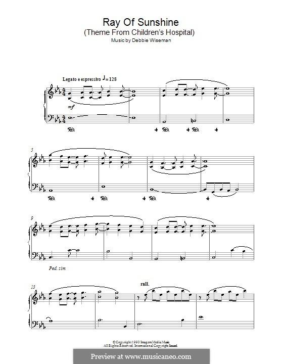 Ray of Sunshine (Theme from Children's Hospital): Für Klavier by Debbie Wiseman