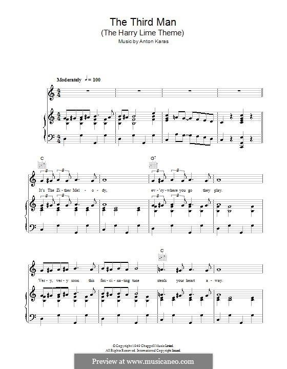 The Third Man (The Harry Lime Theme): Für Stimme und Klavier (oder Gitarre) by Anton Karas