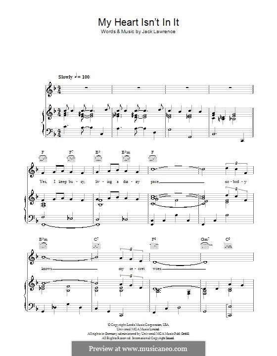 My Heart Isn't in It (Tony Pastor): Für Stimme und Klavier (oder Gitarre) by Jack Lawrence