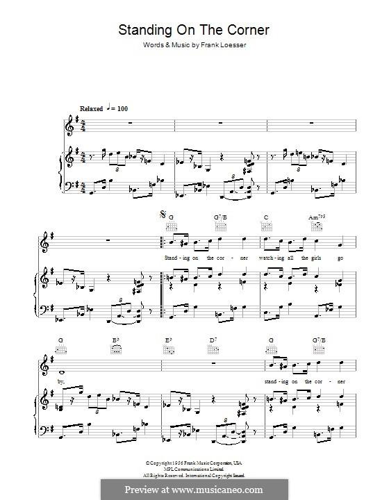 Standing on the Corner (The Four Lads): Für Stimme und Klavier (oder Gitarre) by Frank Loesser