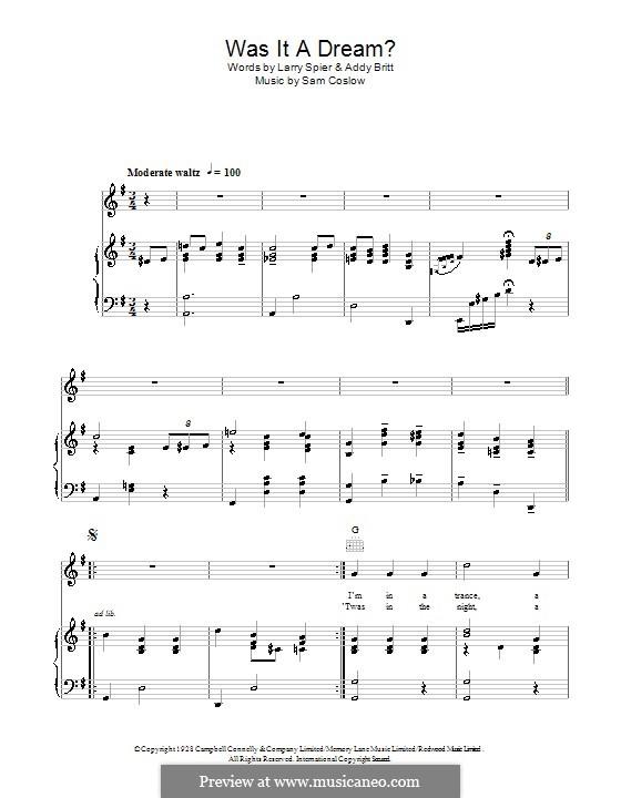 Was It a Dream: Für Stimme und Klavier (oder Gitarre) by Sam Coslow