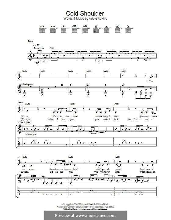Cold Shoulder: Für Gitarre mit Tab by Adele