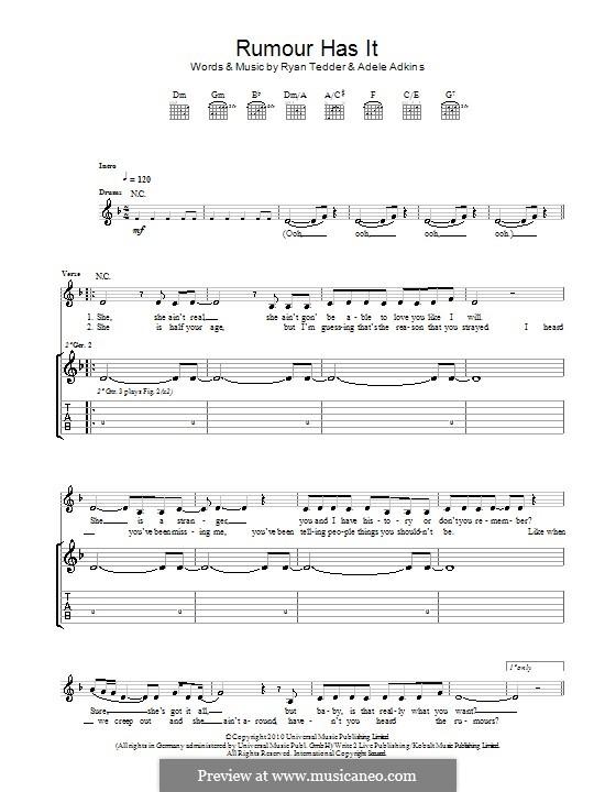 Rumour Has It: Für Gitarre by Adele, Ryan B Tedder