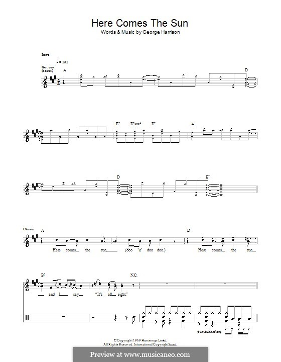Here Comes the Sun (The Beatles): Für Trommeln by George Harrison