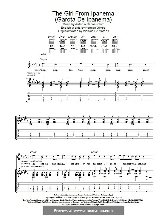 The Girl from Ipanema (Garota de Ipanema): Für Gitarre mit Tabulatur by Antonio Carlos Jobim